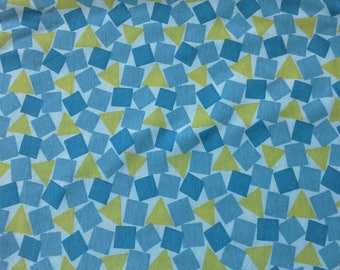 Blue and Yellow Geometric Print Knit Fabric 2 Yards X0904