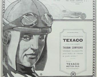 1920's Genuine French 'Texaco Motor Oils' & 'Forvil' Eau de Cologne Advert