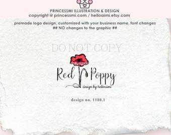 1180-1 POPPY Logo Design, flower, floral ,  custom poppies logo, photography logo, boutique logo, watermark, poppies logo