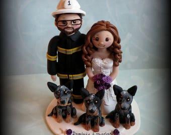Wedding Cake Topper, Custom Cake Topper, Firefighter, Bride and Fireman, Pet, Polymer Clay, Personalized, Wedding Keepsake