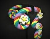 Pastellfarbener Regenbogen Wirbel mit Blumen, Fake Plug, gefälschte Messgeräte, Faker.