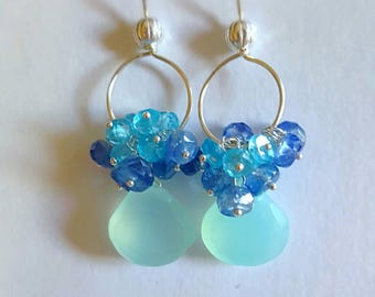 New! Aqua Chalcedony with Kyanite and Apatite Gemstone Cluster Earrings on Sterling Silver Gift for Her