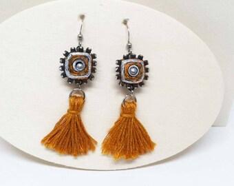 Blingy Rhinestones Embrace Shimmery Paper - Pumpkin Orange Earrings - Tassel Earrings - First Anniversary - Bridesmaid - Boho Jewelry