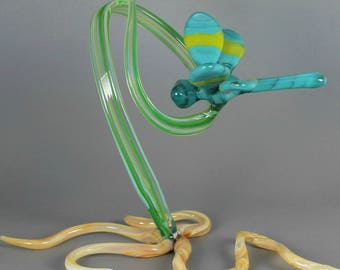 Dragonfly Sculpture - Handcrafted Nature Art Glass