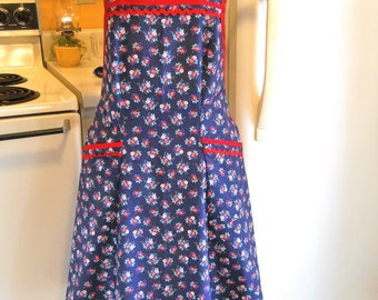 Vintage 1940's Style Full Apron in Blue and Red Floral