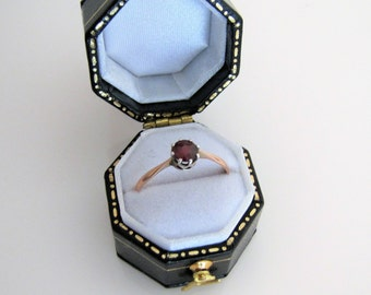 Antique Garnet Engagement Ring. Victorian 9K Gold Garnet Solitaire Ring. Coronet Setting. Fine Jewelry. January Birthstone Stacking Ring