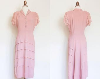 Vintage 1940s blush pink rayon dress / 40s pale pink dress with rhinestone buttons and pleating / M