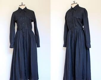 vintage 1980s 1990s DKNY black linen shirtdress   80s 90s semi sheer long sleeved Donna Karan midi dress with buttons   S 6