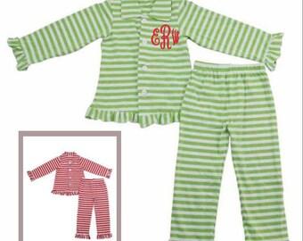 Monogrammed Christmas Pajamas - Boy Pajamas - Girl Pajamas - Ruffle - Red Stripes - Green Stripes - Personalized Holiday - Kid Pajamas