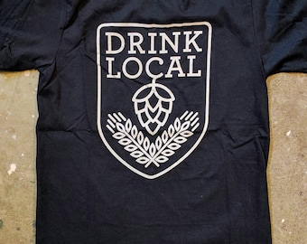 Drink Local tee shirt - Navy Blue - Craft Beer