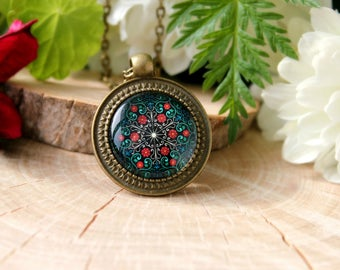 Colorful Floral Pattern Abstract Ornament Necklace, Antique Bronze Pendant, Glass Dome Pendant