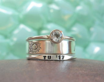 Uniquely Yours Gemstone Class Ring Set 2 Personalized Bands & 1 Gemstone Solitaire 30+ Stone Choices Sterling Silver Stacking School Rings