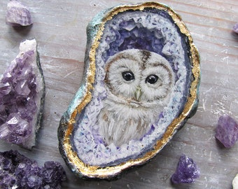 Geode Resin Painting - Owl Amethyst