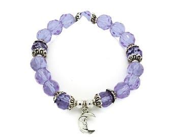 Crescent Moon Periwinkle Blue Beaded Bracelet