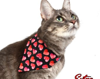 Pet Bandana - Pink and Red Hearts on Black - Pet Scarf - Collar Cover - Valentines Day