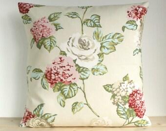 Flower pillow cover, Shabby chic cushion cover, Cotton pillow sham, Pillowcase - English Garden Cream