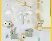Woodland Baby Mobile, Baby Crib Mobile, Nursery Decor, Ceiling Hanging Mobile, Neutral Mobile, Sandstone Gray Ivory White Grayish Blue Mint