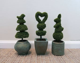 Shaped topiary in planter - various styles - dollhouse miniature