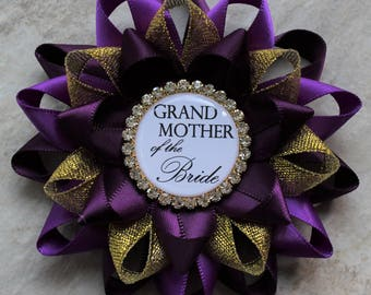 Purple Bridal Shower Decorations, Bridal Shower Pins, Mother of the Bride, Grandmother, Bachelorette Party Pins, Deep Purple, Purple, Gold