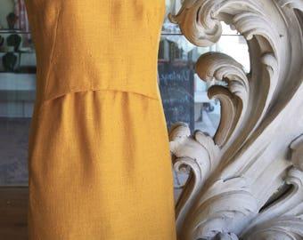 Vintage 1960s Allison Ayres Golden Yellow Sheath Dress 38 Bust