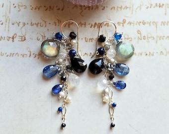 Blue Grey Cluster Earrings, Labradorite Dangle, Grey Gemstone Cluster Dangle, Moonstone Cluster Earrings