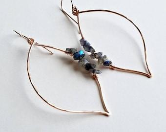 Labradorite Leaf Earrings, Rose Gold Leaf Hoops, Labradorite Hoop Earrings, Minimalist Hoop Earrings