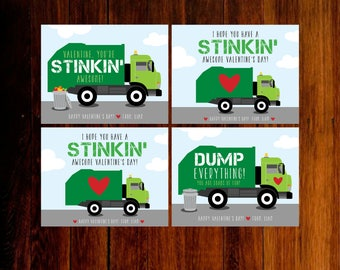 Garbage Truck Valentine Cards, Printable Valentine Cards
