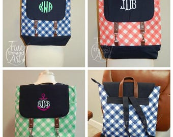 Gingham Backpack with Monogram for Back to School Mint Green Navy Coral Flap Backpack
