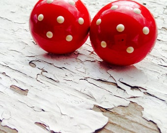 Earring-Vintage Earring-1980's-Polka Dot-Red-Independence Day-4th of July- Vintage Reclaim-Retro