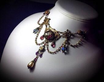 Purple Gothic Choker, Victorian Necklace, Amethyst Choker Edwardian Necklace Bridal Antique Brass Steampunk Choker Titanic Temptations 12017
