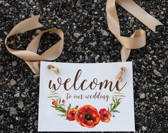 Welcome To Our Wedding Sign | Ceremony Decor Prop Banner Floral Poppy Graphic 1302 BW