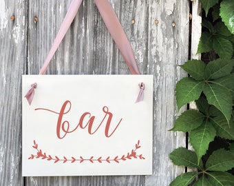 BAR Sign For Wedding Party or Reception | Cocktail Hour Signage Banner | 1332 BW