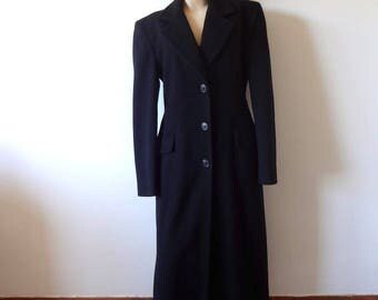 1980s Black Wool Coat - women's menswear tailored winter coat - classic vintage size S