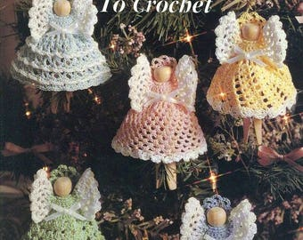 CHRISTMAS CLOTHESPIN ANGELS  Crochet Ornaments Anne Halliday Leisure Arts 2518