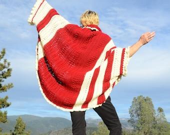 Crochet Shrug Red and White Stripes