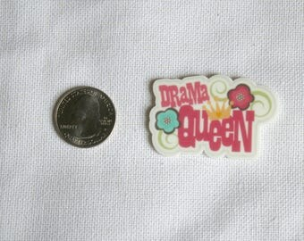 Acrylic Drama Queen Bow Center Magnet Badge Reel Accessories Typography Word Art