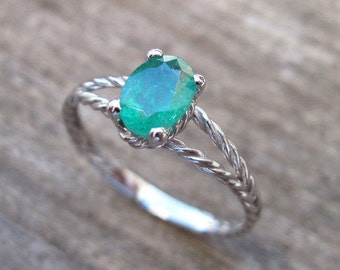Emerald Engagement Ring, Emerald Oval Braided Rope Engagement Ring, Emerald Engagement Ring, Gold Twisted Rope Engagement Ring, Emerald Ring