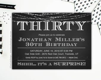 Adult birthday Invitations for men, 30 birthday invitation, Black and White Invite, Surprise Adult Birthday Party, Printable