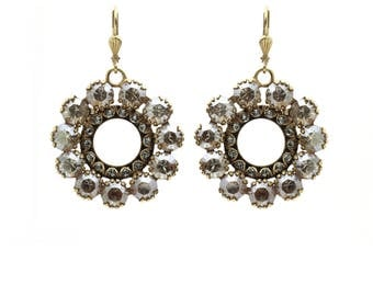 Gorgeous Sparkly Round Earrings in Swarovski Crystals