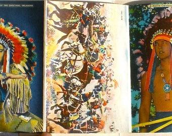 Western, Native American, Indians, Cowboys, Oklahoma, Souvenir, Postcards,  18 PANELS , Ephemera , Supplies, 1950s