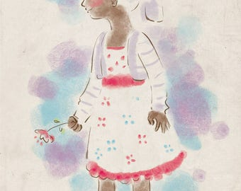 Pastel Girl Print - Girl in Flower Dress Print - A Distracted Gaze - A4 Children Print, Kids Wall Art, Kids Wall Decor, Indian Girl
