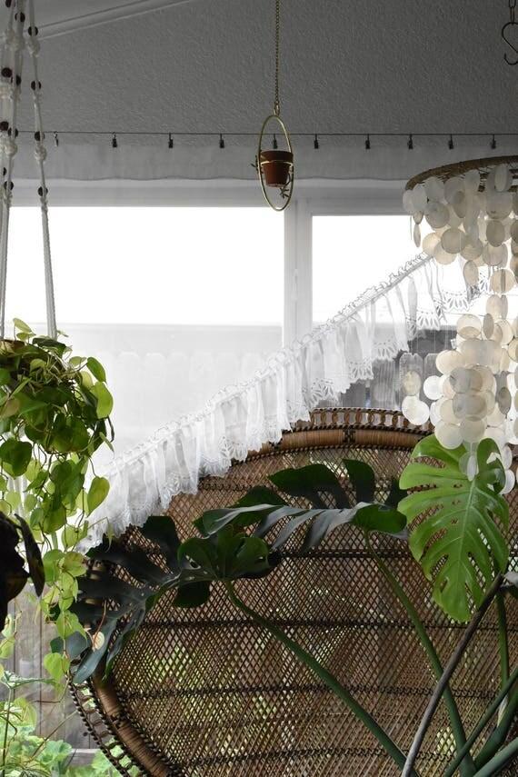 set of 2 long boho short white sheer ruffled window curtains / window decor / 2 panels