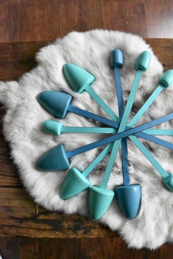 mid century womens blue turquoise wood shoe form / geometric shoe stretcher organizer / set of 7
