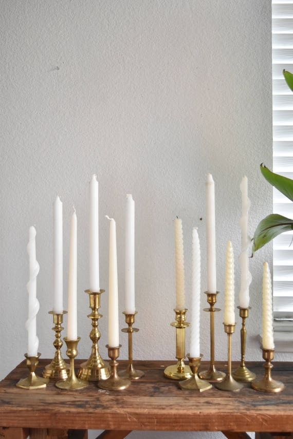 set of 6 solid brass ornate candle holders / instant collection