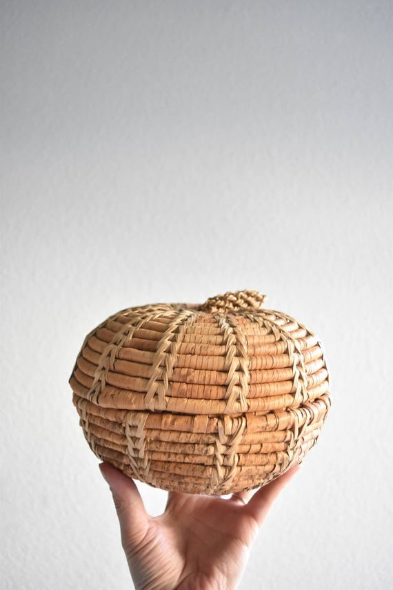 woven straw orb apple basket with lid and handle