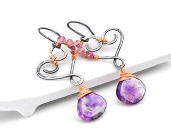 Moss Amethyst Earrings, Petite Oxidized Silver Heart Dangle Earrings, Pink Spinel & Purple Moss Amethyst Dangles, Mixed Metal Hearts
