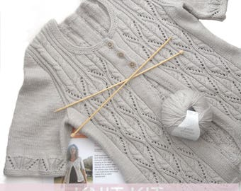 Barcelona Cardigan Knitting Kit , Knit in Yarn Stories Fine Merino DK , full instructions included , email help support