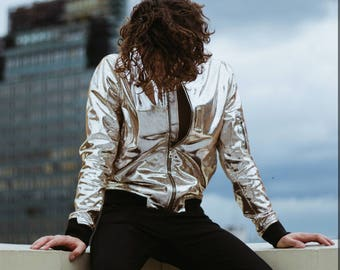 Gin Silver Leather Bomber