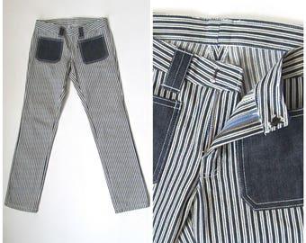 "Vintage 70s Striped Hip Hugger Jeans   Low Rise Jeans   Striped Denim Pants   Rocker, Penny Lane, Mod   Waist 31.5"""