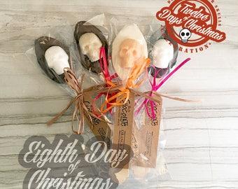 On the eighth day of Christmas - eight Chocolate Sugar Skull Spoons // DemBones // mini sugar skull // christmas gift// skull gifts